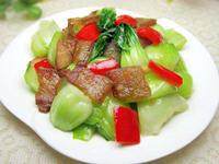 上海青炒腊肉