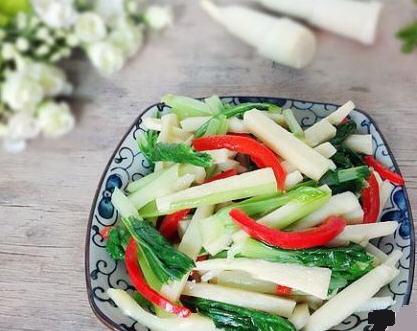 小白菜炒茭白的菜品_小白菜炒茭白做好吃巡湘记做法图片