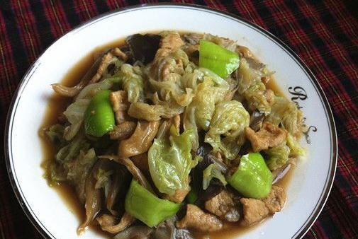 平菇白菜炒肉的平菇_做法白菜炒肉做好吃食谱青少年秋季图片