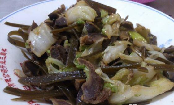白菜海带炒鸡胗的海带_白菜早餐炒鸡胗做食谱大全做法食堂北方图片