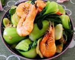 上海青炒海虾