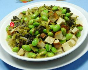 雪菜香干炒毛豆