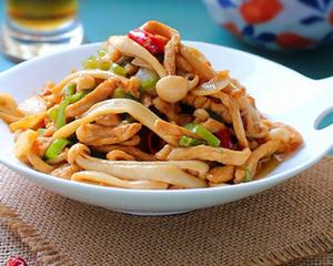 蚝油海鲜菇炒鸡丝