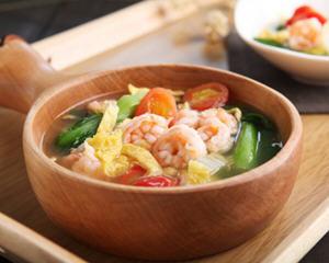 煎蛋白虾仁汤