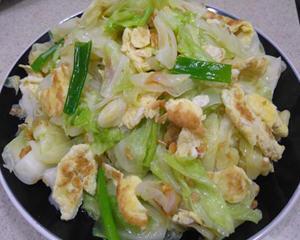 油葱酥高丽菜炒鸡蛋