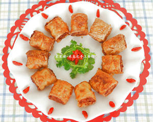 椒香豆皮酥肉卷