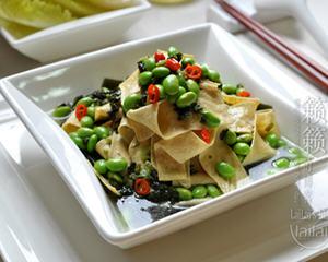 雪菜毛豆炒腐皮