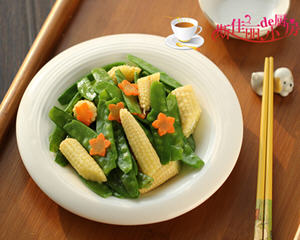 荷兰豆炒玉米笋