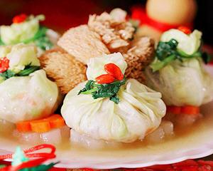 金猴献瑞玉福袋:素彩福袋猴头菇(年菜)