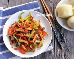 浇汁蘑菇青红椒