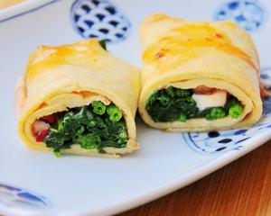菠菜香菇蛋卷