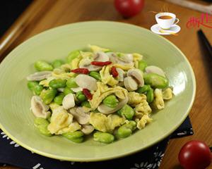 口蘑蚕豆米炒鸡蛋(补脑又补钙)