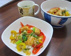 甜椒鲜蔬鸡肉井饭的做法图解