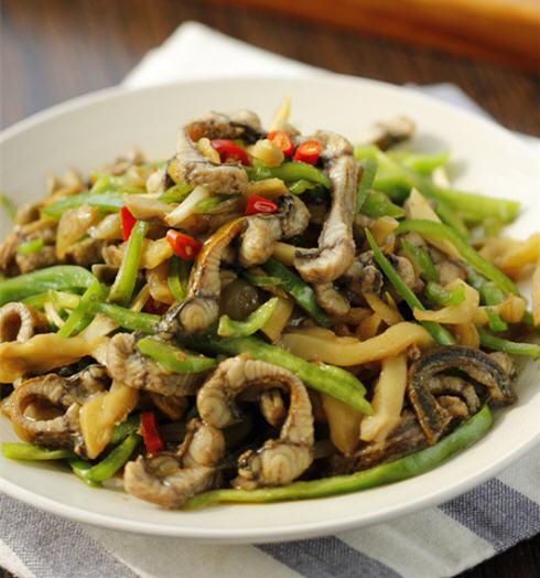 青椒猪肉炒鳝丝的做法_图解好吃的青椒榨菜炒狗狗吃了榨菜拉肚子图片