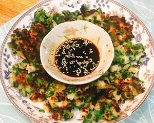 韭菜青葱虾仁煎饼