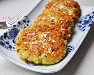豆渣蔬菜土豆脆饼的做法_图解好吃的豆渣蔬菜土豆脆饼怎么做