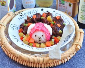 粉色小羊卡通牛肉饭