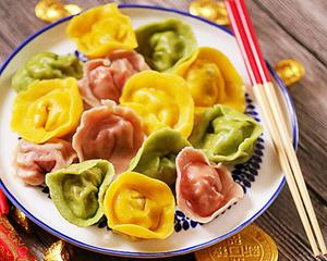 好运三彩元宝水饺