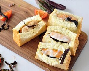 三文鱼肠吐司夹三明治的升级版