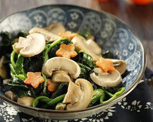 口蘑炒菠菜